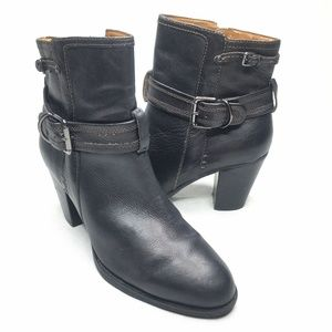 Sofft Black Bootie Heeled Ankle Boot Buckle Strap